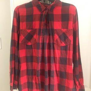 Red plaid button down shirt